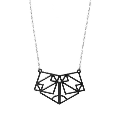 Symmetric Necklace Black and Silver