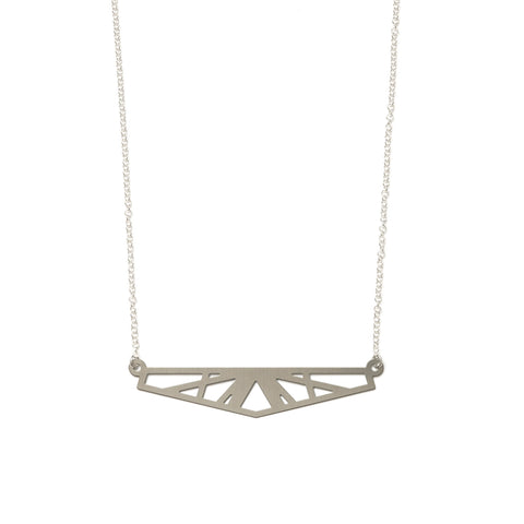 Big Reflection Necklace Steel and Silver