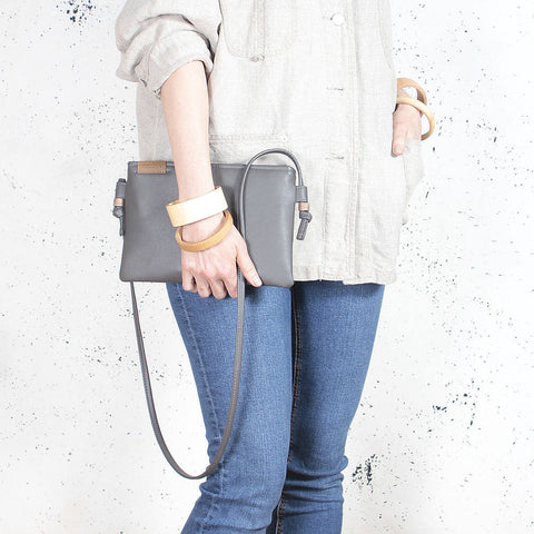 Nodo Mini Clutch bag grey vegan faux leather