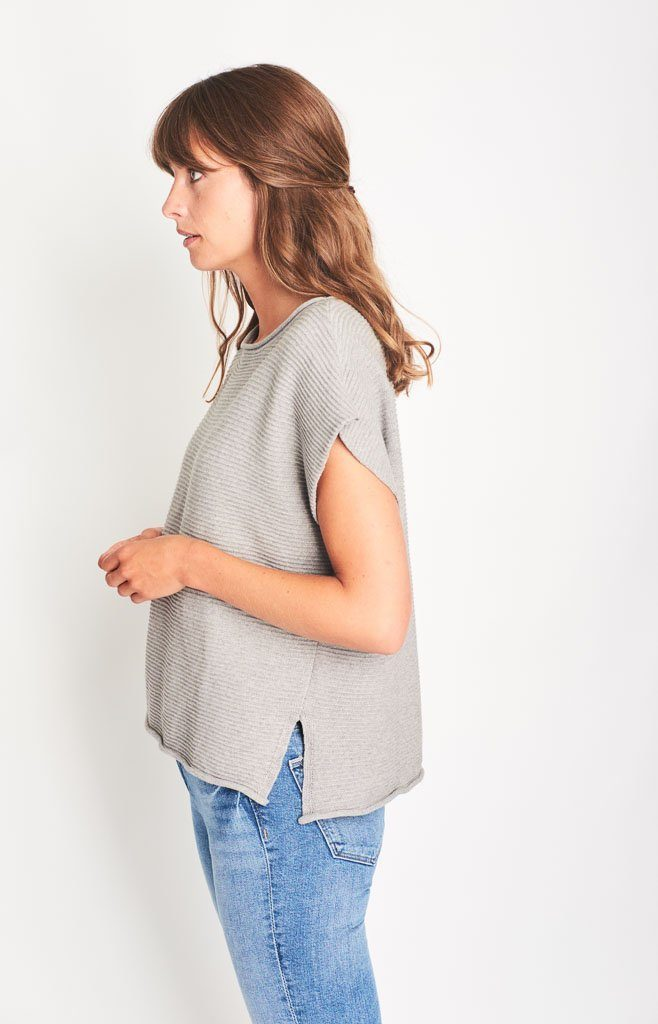 Olga Organic Cotton Knitted Top Light Grey