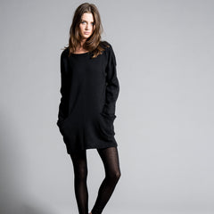 Casual sweatshirt tunic oversized dress long sleeve - Black