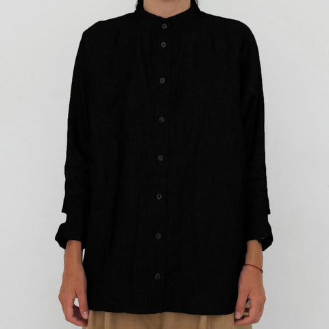 Ada Oversized Long Sleeve Shirt, Black with detail