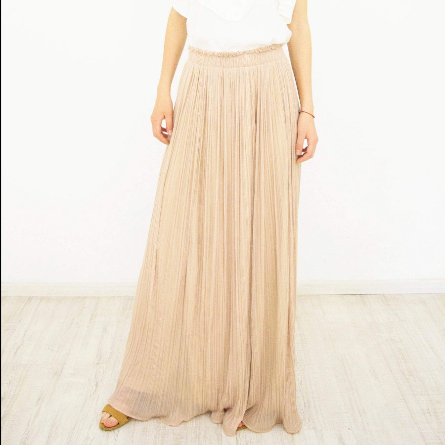 Pleated Long Maxi Skirt, Beige Chiffon