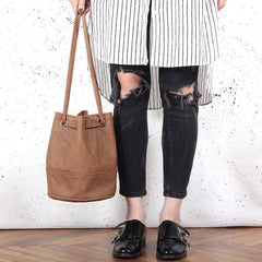 Saq bag brown drawstring pouch vegan faux leather