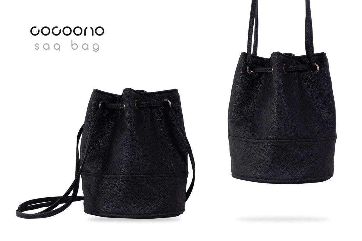 Saq Bag Black drawstring pouch vegan faux leather