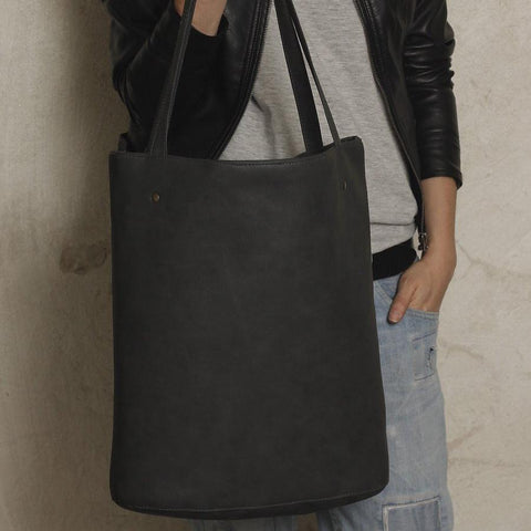 Shopper bag graphite dark grey vegan faux leather