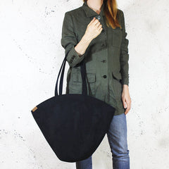 Black Shelly Shoulder Bag in Vegan Faux Suede
