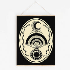 Moon Over Sun Golden Art Print