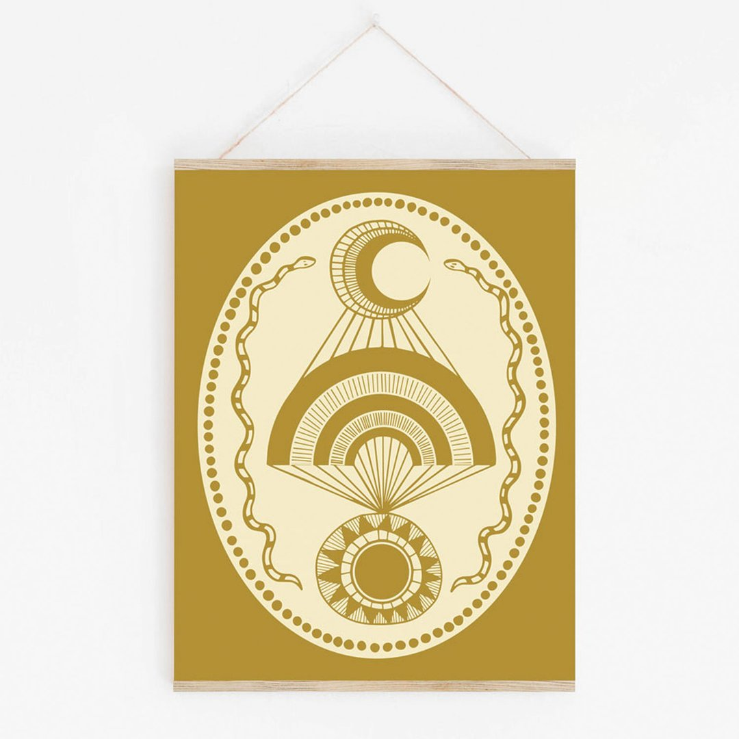 Moon Over Sun Black Art Print