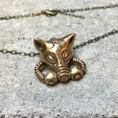 Cat with Gas Mask Necklace Bronze
