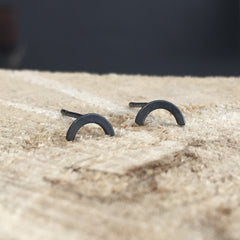 Arch Earrings Oxidized Silver