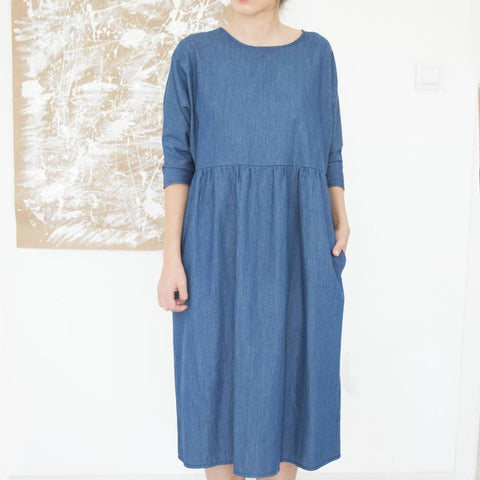 Titally Casual Long Sleeve Cotton Dress, Blue Size L