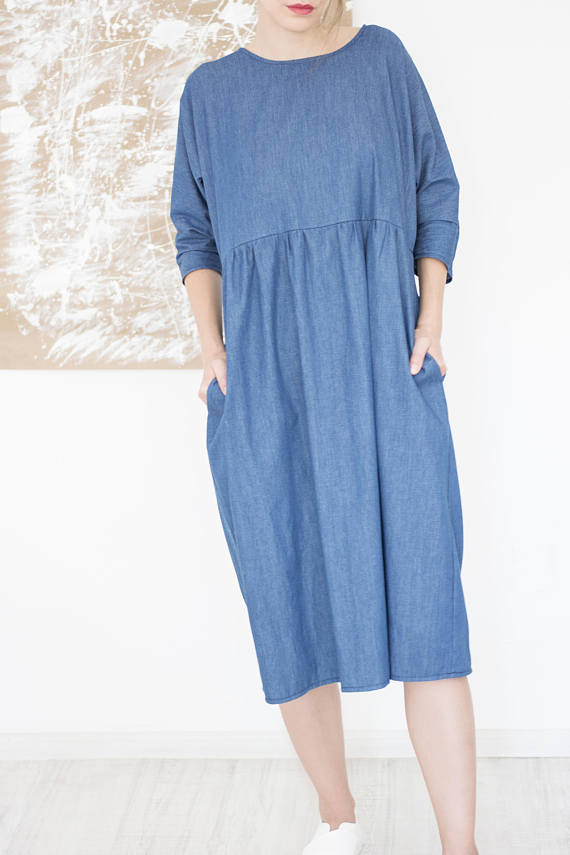 Titally Casual Long Sleeve Cotton Dress, Blue