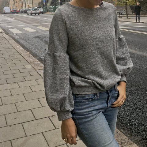 Rita Grey Sweater Long Sleeve with detail