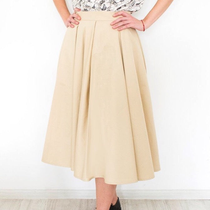 High Waisted Skirt Beige