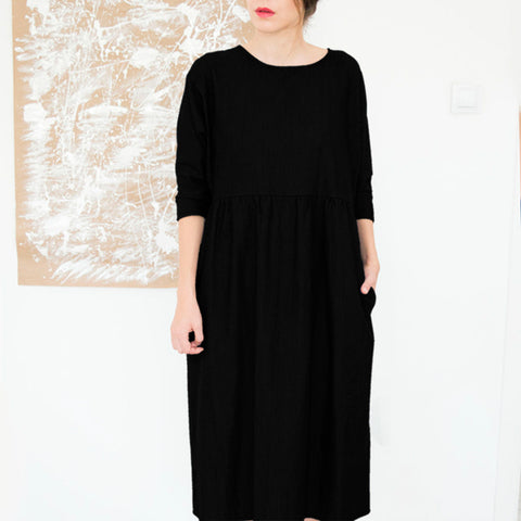 Titally Casual Long Sleeve Cotton Dress, Black