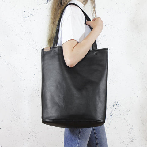 Everyday Bag Black Shopper Tote Vegan Faux Leather
