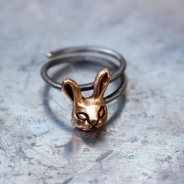 Bunny Rabbit Ring Bronze