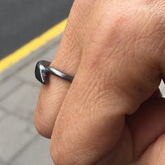 Snake Ring Oxidized Silver with Diamonds