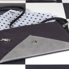 Clutch bag envelope grey black vegan faux leather suede