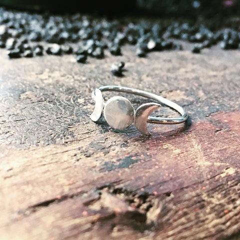 Goddess Moon Ring Silver