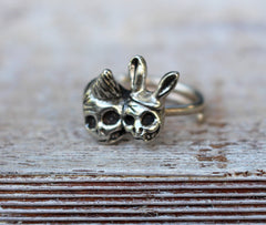 Day Of The Dead Party Skull Ring Bronze
