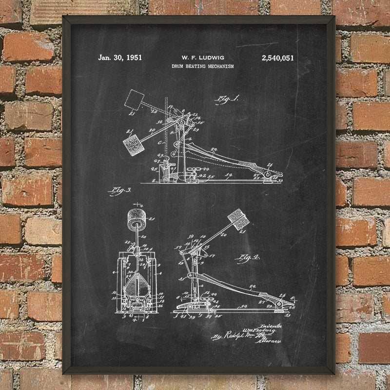 Drum Beating Mechanism 1951 Patent Print (A4)