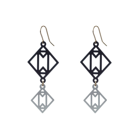 Symmetric Together Earrings Black & Steel