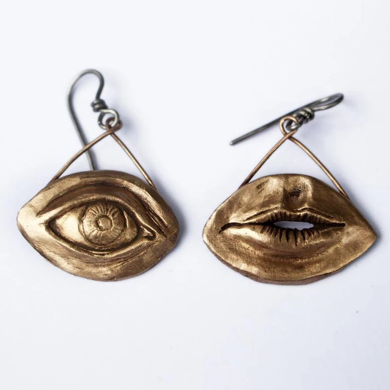 Lips Earring Bronze
