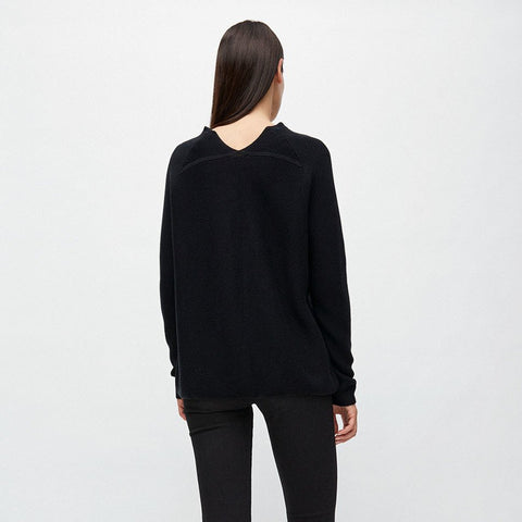 Faarina Black Knitted Sweater in Organic Cotton