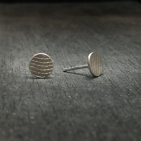 Fabric pattern Earrings Bronze or Silver