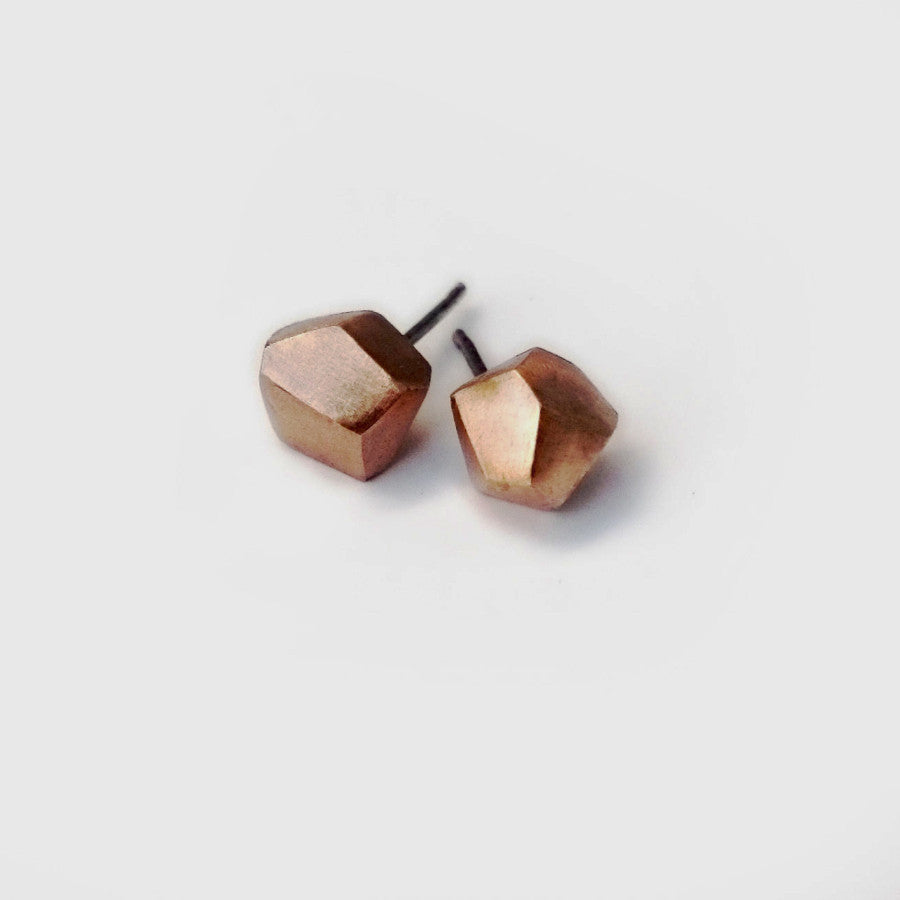 Facet Stud Earrings Bronze