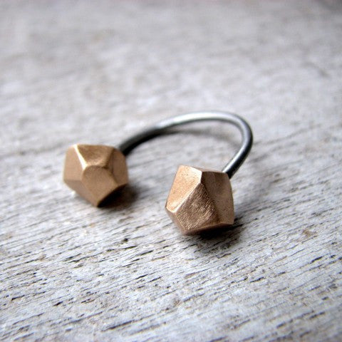 Facet Stud Earring Bronze