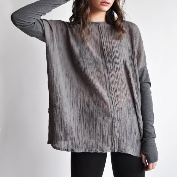 Gauze long sleeve top - Grey