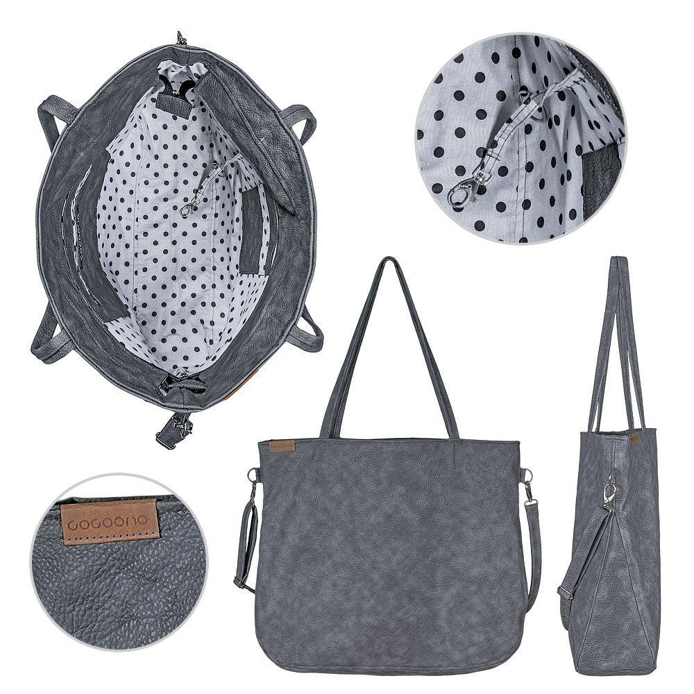 Grey big Tote bag crossbody everyday vegan faux leather bag