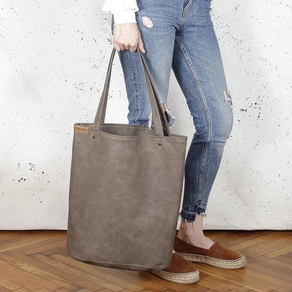 Everyday Bag Grey Brown Shopper Tote Vegan Faux Leather