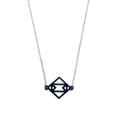 Symmetric Together Necklace Black and Steel