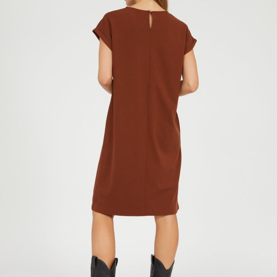 HAWAA Brown Short Sleeve Dress in Lenzing Ecovero