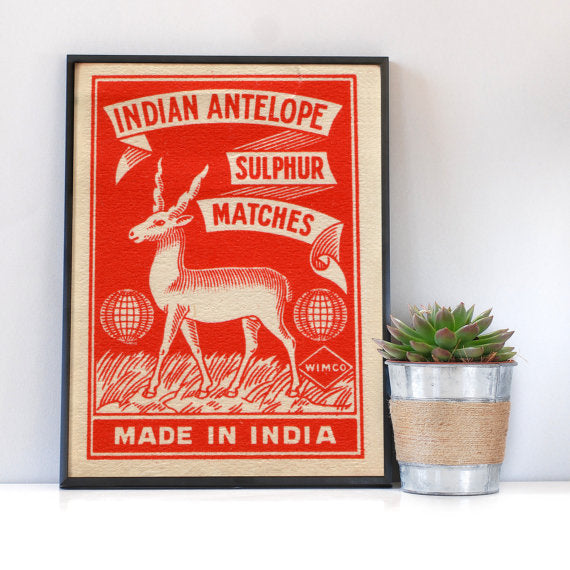 Indian Antelope Vintage Matchbox Art Print (A4)