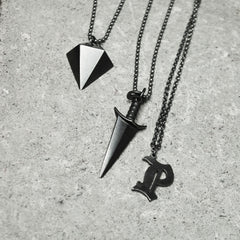 Dagger Necklace Oxidized Silver