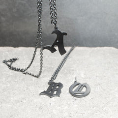 Gothic Alphabet Initial Necklace Oxidized Silver