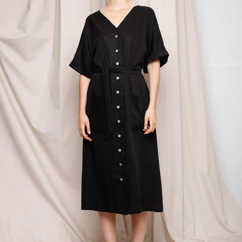 Louise Dress, Tencel Black