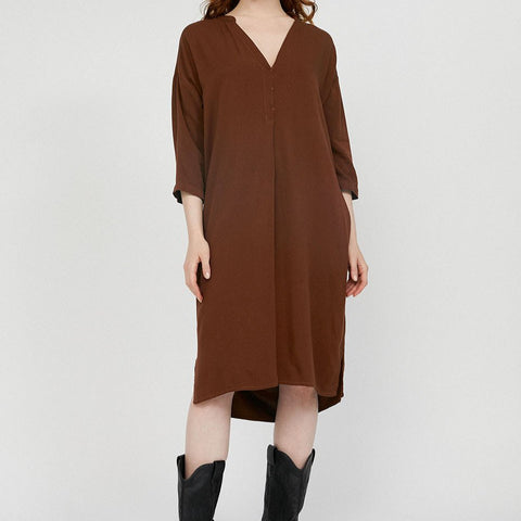 MAARNIE Brown Dress in Lenzing Ecovero