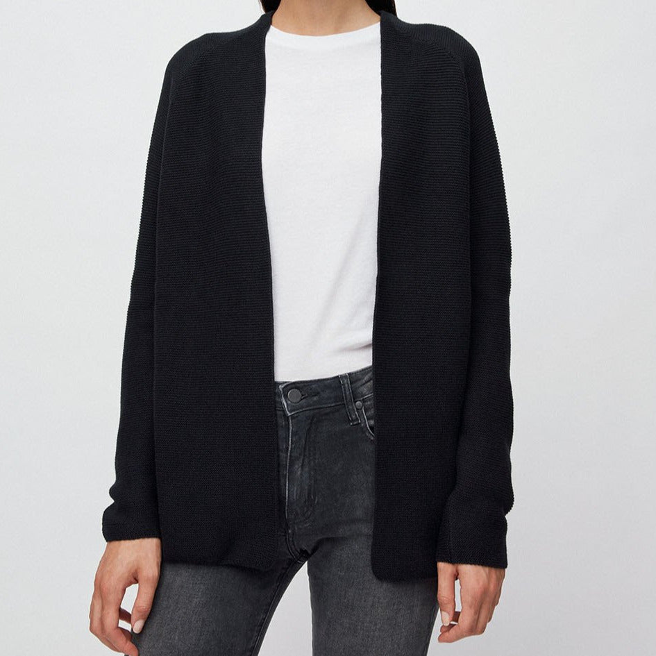 Maashaa Black Knitted Cardigan in Organic Cotton