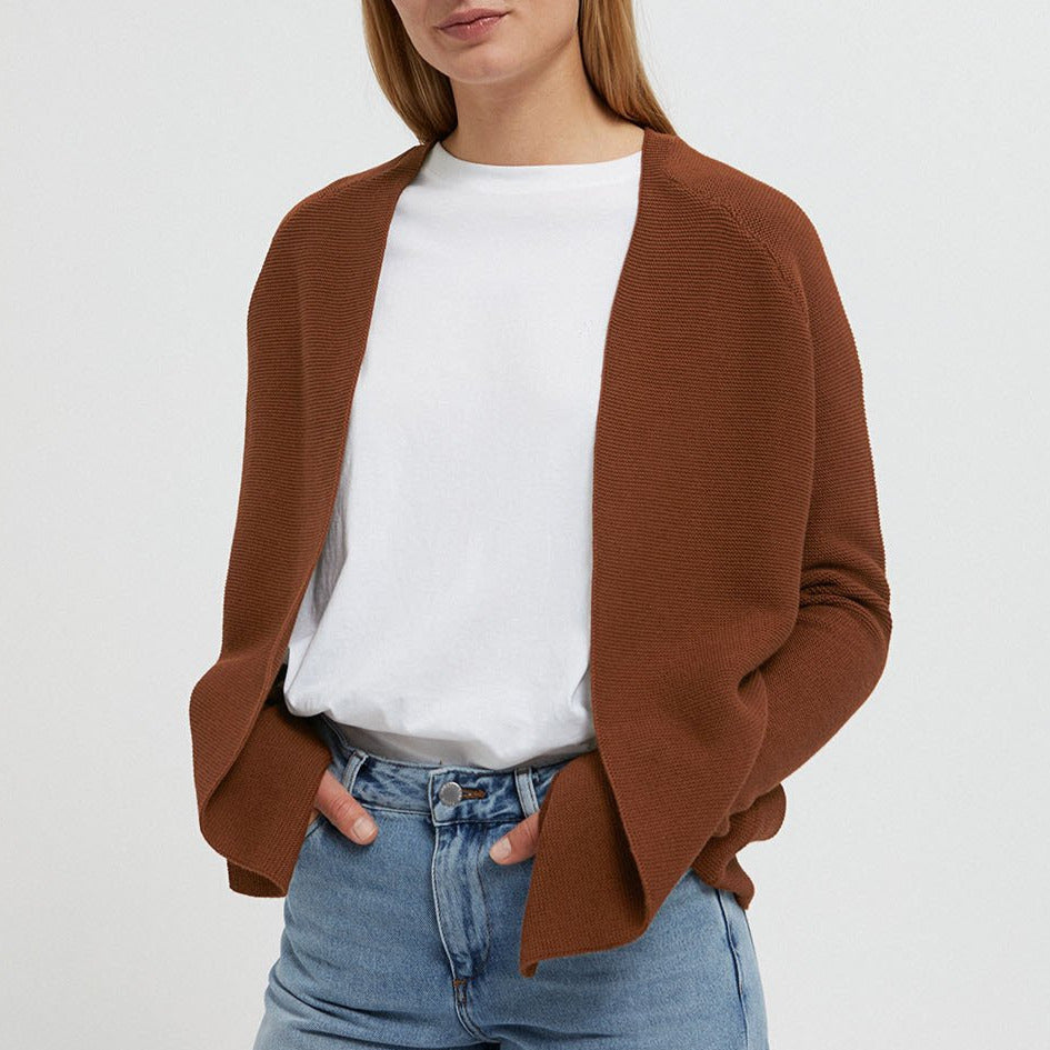 Maashaa Brown Knitted Cardigan in Organic Cotton