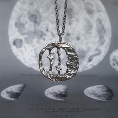 Man In The Moon Necklace Silver