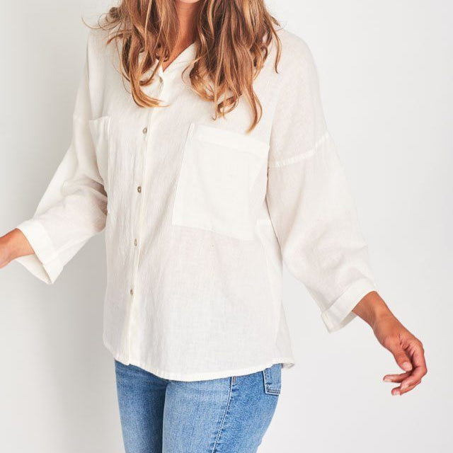 Maya Fair Trade Shirt Oversized White Linen