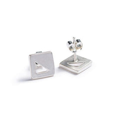 Mini Square stud Earrings Silver