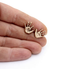 Miniature Hand Stud Earrings Bronze
