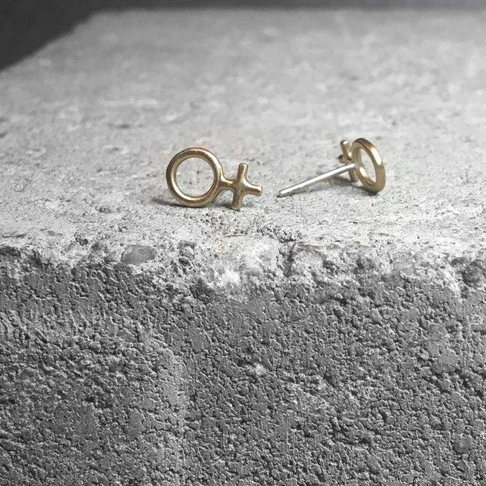Minna Tiny Feminist Earring Silver or Bronze